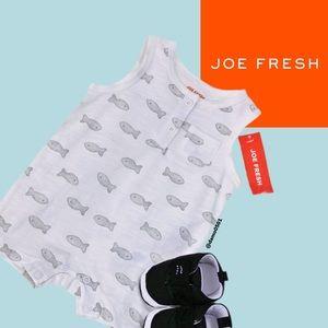 NWT Joe Fresh Baby White/Gray Fish Graphic Romper